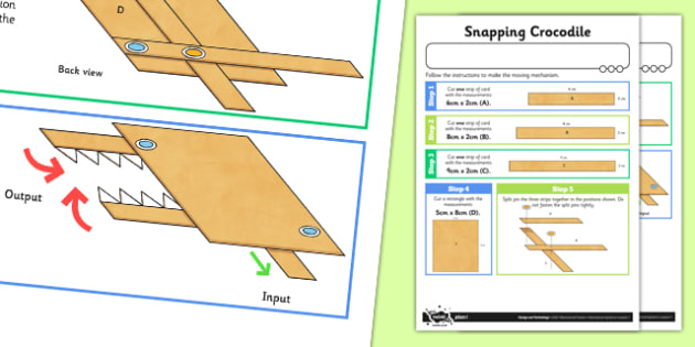 Making Levers and Linkages: Snapping Crocodile Activity Sheet - Go Green, Eco, recycle, warrior, environment, worksheet