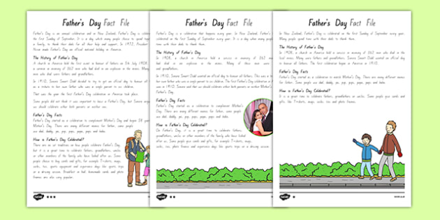New Zealand Father's Day Differentiated Fact File