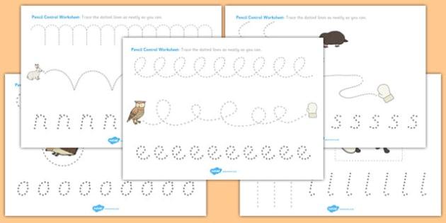 The Mitten Pencil Control Sheets - the mitten, pencil, control