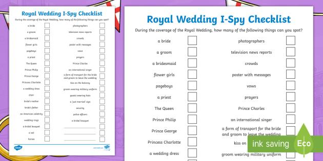 Wedding Checklist | New Royal Wedding I Spy Checklist Royal Wedding