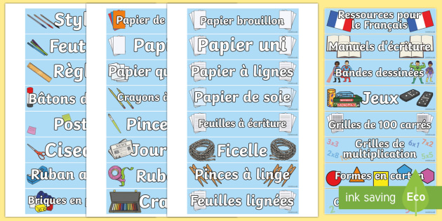 French Classroom Equipment Tray Labels - Tray, labels, classroom, equipment, organisation, France