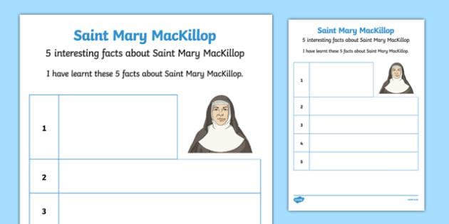 5 Facts About Saint Mary MacKillop Worksheet / Activity Sheet-Australia, worksheet