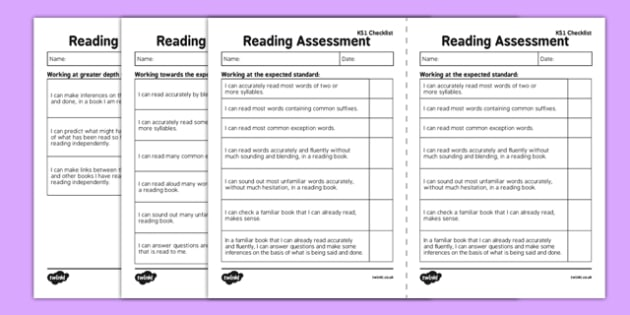 KS1 Reading Exemplification - I Can Statements Checklist