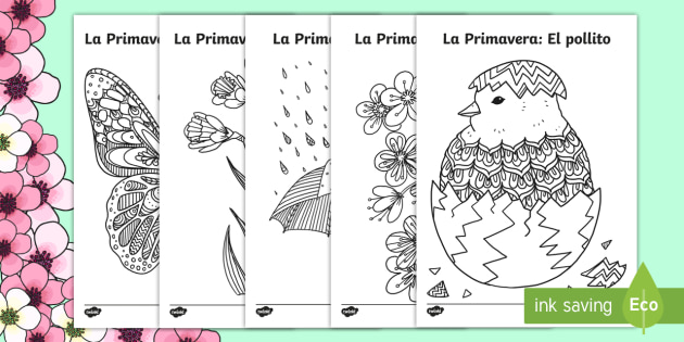 Spring Mindfulness Colouring Pages Spanish - Spring, KS2