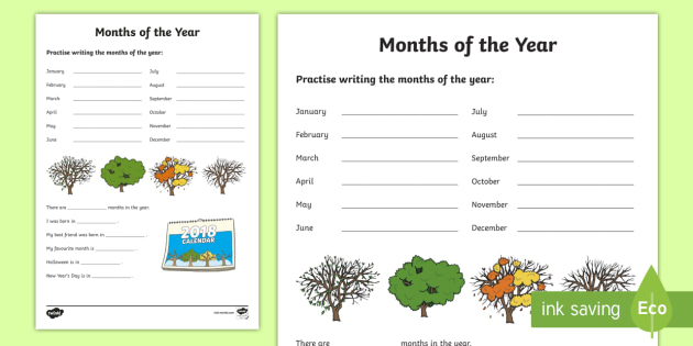 Months Of The Year Worksheet Worksheet Ni Ks1 Numeracy