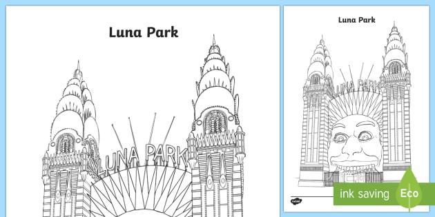 Luna Park Colouring Page Australia Sydney Australiaaustralia Famous Buildings