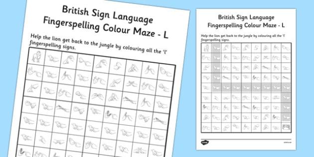British Sign Language Left Handed Fingerspelling Colour Maze L