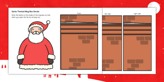 Santa-Themed Christmas Mug Box Decals - santa, christmas, mug box, decals, display