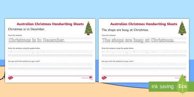 Christmas Handwriting Year 2 Worksheet / Worksheets ...