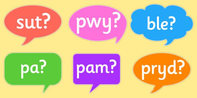 Question Words on Speech Bubbles Welsh - welsh, wales, question words, speech bubbles