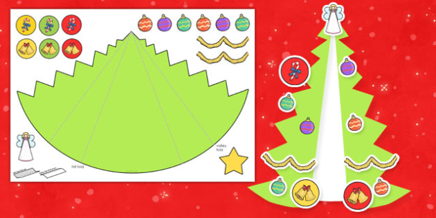 Christmas Tree Cards Ks1.Expanding Christmas Tree Card Cut Out Craft Cards Trees