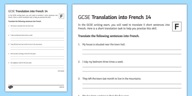 GCSE French: Translation into French - Foundation Tier Activity Sheet 14-French, worksheet