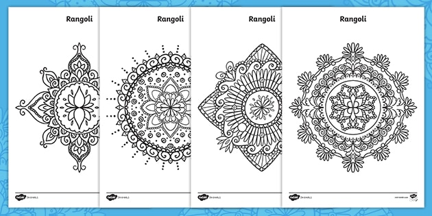 Rangoli Colouring Pages Teacher Made