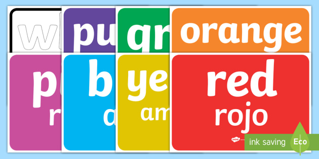 Colours Display Pack English/Spanish - Colours Display Pack - display, visual aid, spectrum, rainbow, art, design, images, colous, EAL, Spa