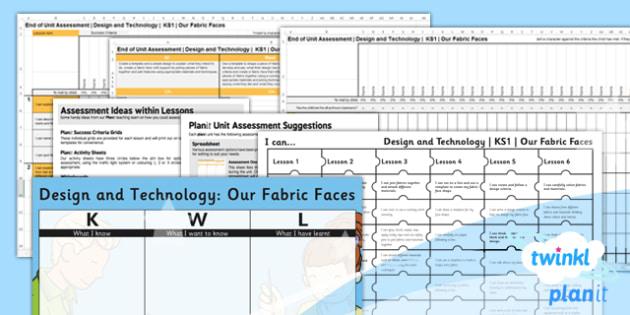 D&T: Our Fabric Faces KS1 Unit Assessment Pack