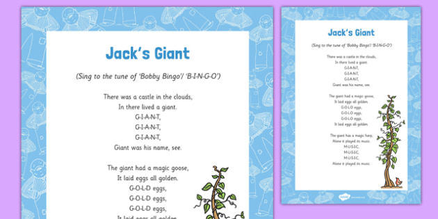 Jacks Giant Song - Jack and the Beanstalk, beans, beanstalk, nursery rhymes, rhyme