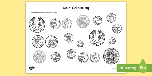 coins colouring worksheet activity sheet money coins. Black Bedroom Furniture Sets. Home Design Ideas