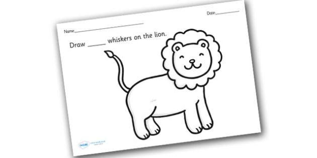 Lion Whiskers Counting and Colouring Sheets - safari, safari animals, on safari, safari colouring sheets, safari counting sheets, safari numeracy, counting