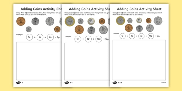 adding coins worksheet teaching resource twinkl