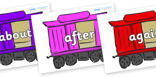 KS1 Keywords on Carriages - KS1, CLL, Communication language and literacy, Display, Key words, high frequency words, foundation stage literacy, DfES Letters and Sounds, Letters and Sounds, spelling