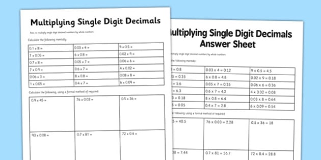 Year 6 Multiply Single Digit Decimals Activity Sheet - year 6, multiply decimals, activity, new curriculum, worksheet