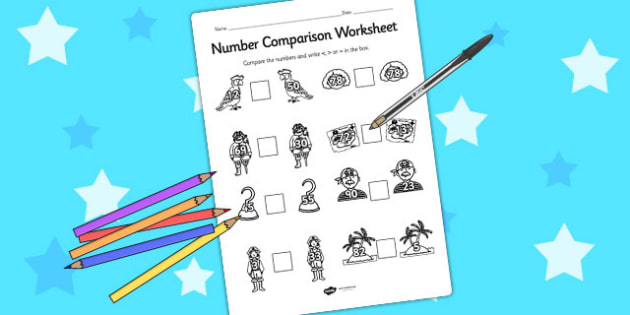 Pirates Number Comparison Worksheet - comparing numbers, maths