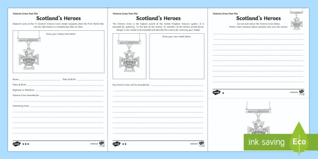 Scotland's Heroes Victoria Cross Differentiated Worksheet / Activity Sheets-Scottish