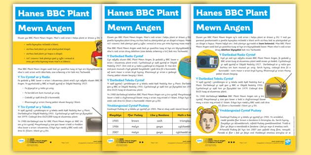 Hanes BBC Plant Mewn Angen: Gweithgaredd Darllen a Deall Gwahaniaethol