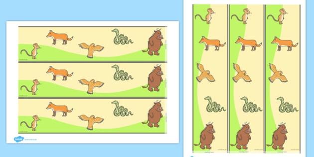 The Gruffalo Display Borders - The Gruffalo, resources, mouse, fox, owl, snake, Gruffalo, fantasy, rhyme, story, story book, story book resources, story sequencing, story resources, Display border, classroom border, border,