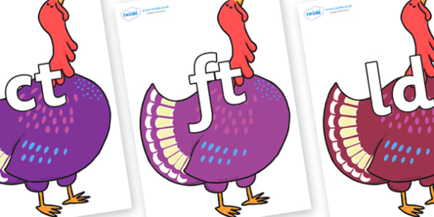 Final Letter Blends on Hullabaloo Turkey to Support Teaching on Farmyard Hullabaloo - Final Letters, final letter, letter blend, letter blends, consonant, consonants, digraph, trigraph, literacy, alphabet, letters, foundation stage literacy