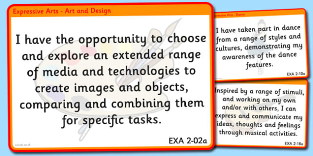 CfE Expressive Arts Experiences and Outcomes for Display Second