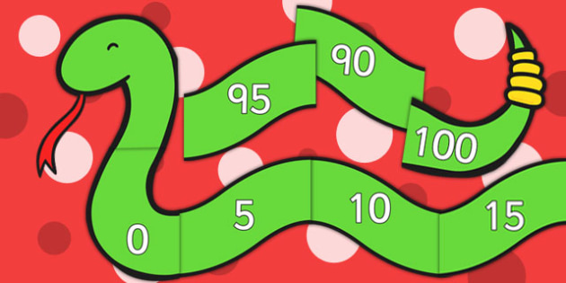Counting in 5s Number Snake - Counting, Numberline, Number line, Counting on, Counting back, even numbers, foundation stage numeracy, snake, counting in 5s