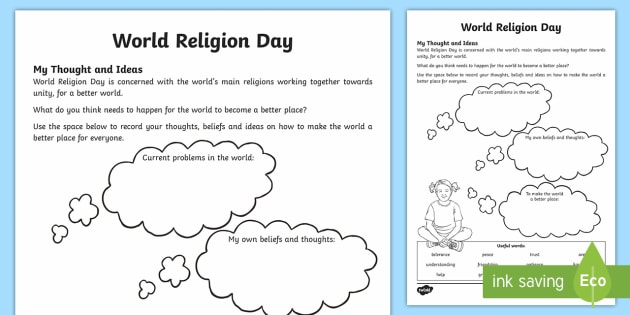 ks2 world religion day my thoughts and ideas worksheet. Black Bedroom Furniture Sets. Home Design Ideas