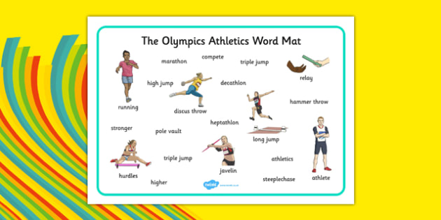 The Olympics Athletics Word Mat - the olympics, athletics, word mat, word, mat