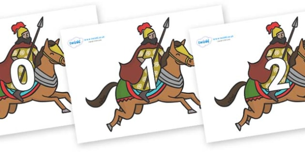 Numbers 0-31 on Egyptian Warriors - 0-31, foundation stage numeracy, Number recognition, Number flashcards, counting, number frieze, Display numbers, number posters