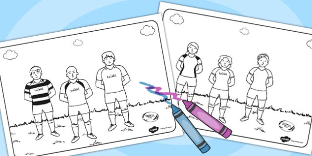 Rugby Players Colouring Pages - rugby players, colouring, pages