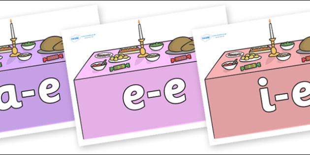 Modifying E Letters on Christmas Dinner (Tables) - Modifying E, letters, modify, Phase 5, Phase five, alternative spellings for phonemes, DfES letters and Sounds