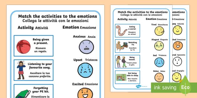 Emotions Worksheet Activity Sheets English Italian Emotions