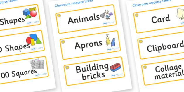 Sunshine Themed Editable Classroom Resource Labels - Themed Label template, Resource Label, Name Labels, Editable Labels, Drawer Labels, KS1 Labels, Foundation Labels, Foundation Stage Labels, Teaching Labels, Resource Labels, Tray Labels, Printable
