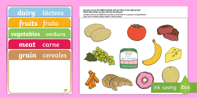 Food Group Sorting Activity English Spanish Food Food Groups Matching Cards