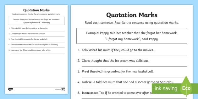 Quotation Marks Worksheet - Dialog, Dialog tags, Quotes ...