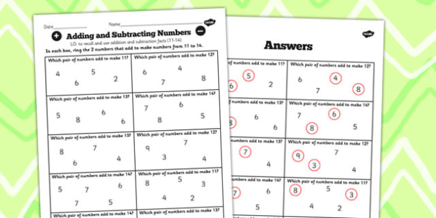 Number Facts Finding Pairs Worksheet 11-14 - number, fact, 11, 14
