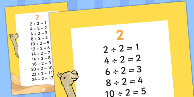 2 Times Table Division Facts Display poster - posters, displays
