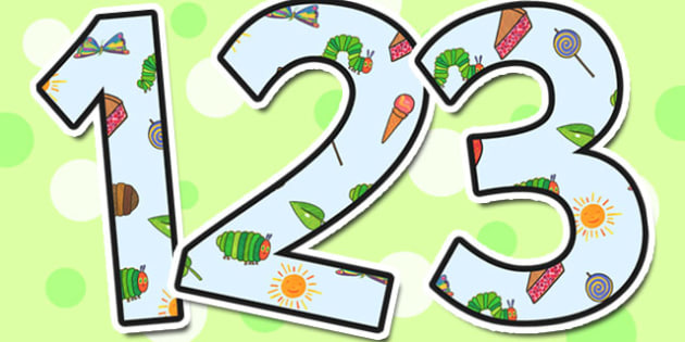Small Display Numbers to Support Teaching on The Very Hungry Caterpillar - the very hungry caterpillar, display numbers, display, numbers, numbers for display, themed numbers