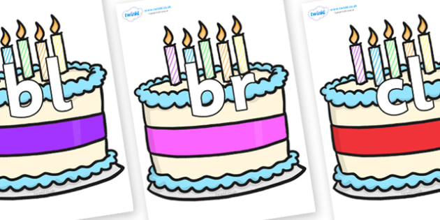 Initial Letter Blends on Birthday Cakes - Initial Letters, initial letter, letter blend, letter blends, consonant, consonants, digraph, trigraph, literacy, alphabet, letters, foundation stage literacy