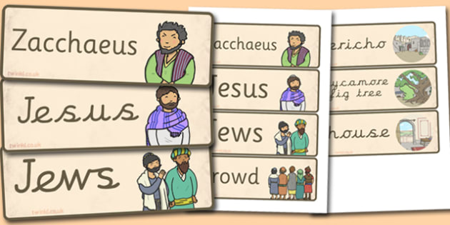 Zacchaeus the Tax Collector Bible Story Word Cards - visual