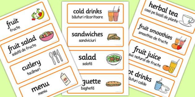 Romanian Translation Healthy Eating Cafe Role Play Word Cards - romanian