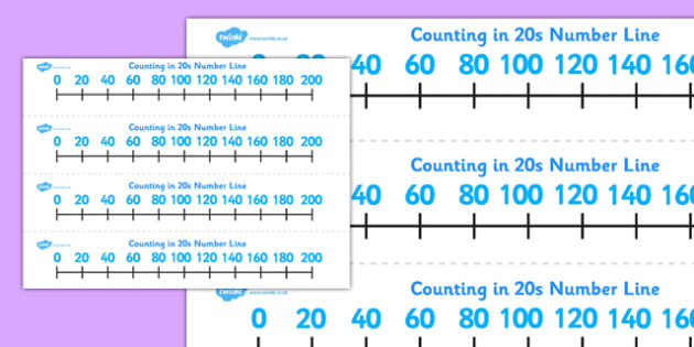 Counting in 20s Number Line - counting, 20s, number line, numberline, count