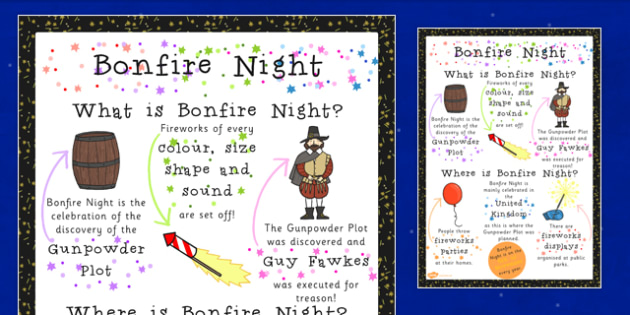 Bonfire Night Where When What Poster - Bonfire, Fire, Fawkes