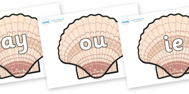 Phase 5 Phonemes on Seashells - Phonemes, phoneme, Phase 5, Phase five, Foundation, Literacy, Letters and Sounds, DfES, display